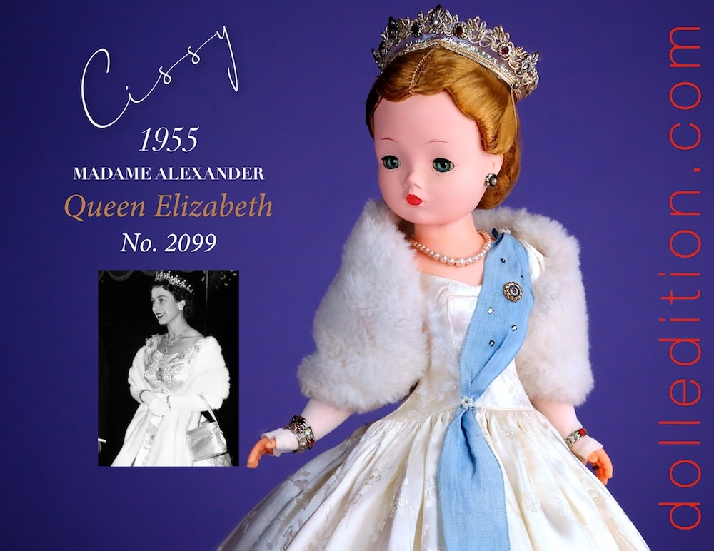 Cissy 1955 Queen Elizabeth by Madame Alexander, with an inset 1955 photo of Queen Elizabeth II - Both are looking regal and glamorous.