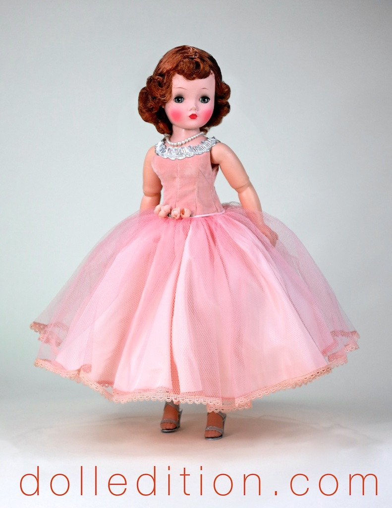 Cissy  is wearing a FAO Schwarz gown that would have come from their own in-house seamstresses — they could also dress the doll and create a matching ensemble for the dolls owner. Service was the order of the day!