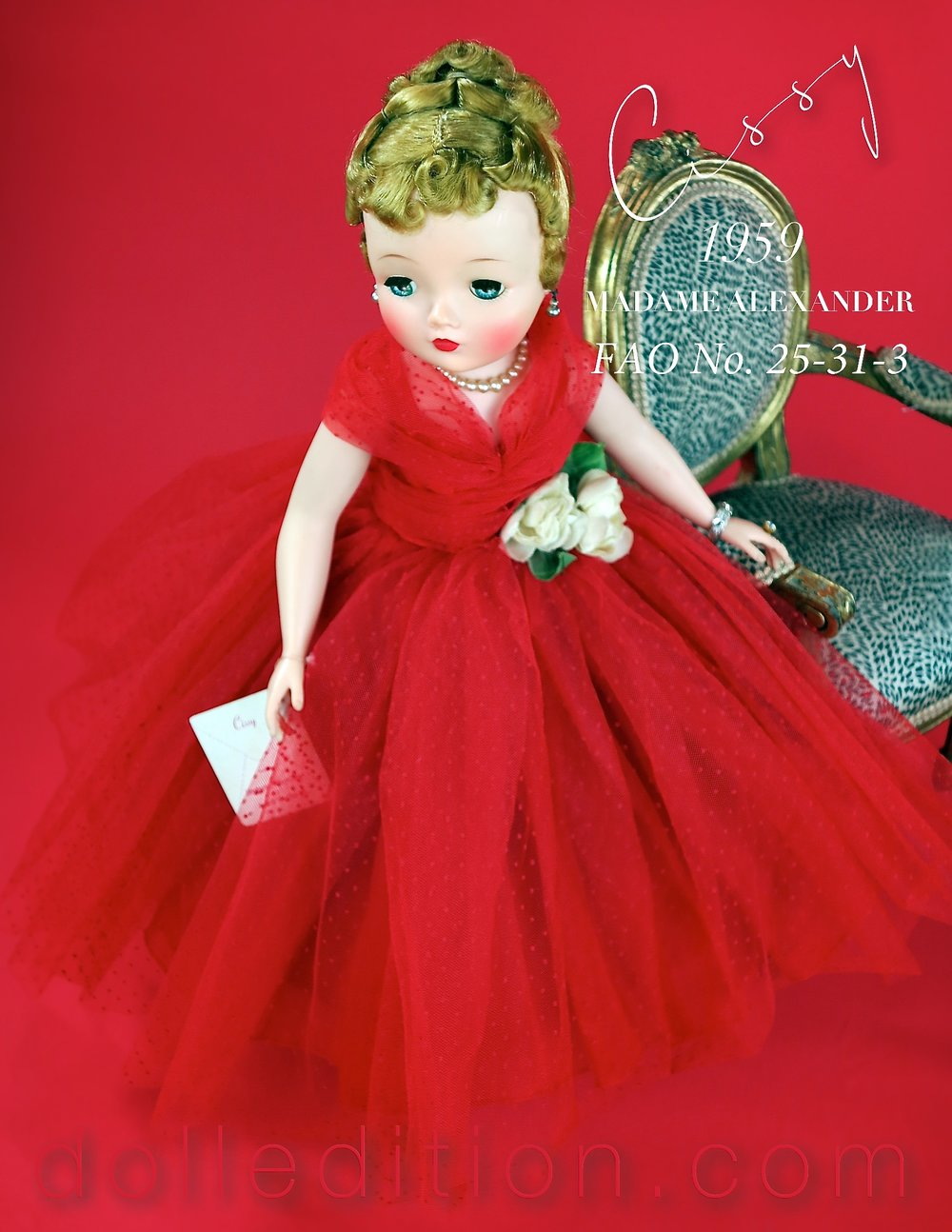 Appearing as No. 25-31-3 in the 1959 FAO Schwarz catalog was this red 3/4 length swiss dotted tulle gown with a white rose corsage at the waist. A black and white photo in the Alexander Doll Company's catalog shows the same dress as No. 22-60, but as a variation in a pastel pink dotted swiss tulle.