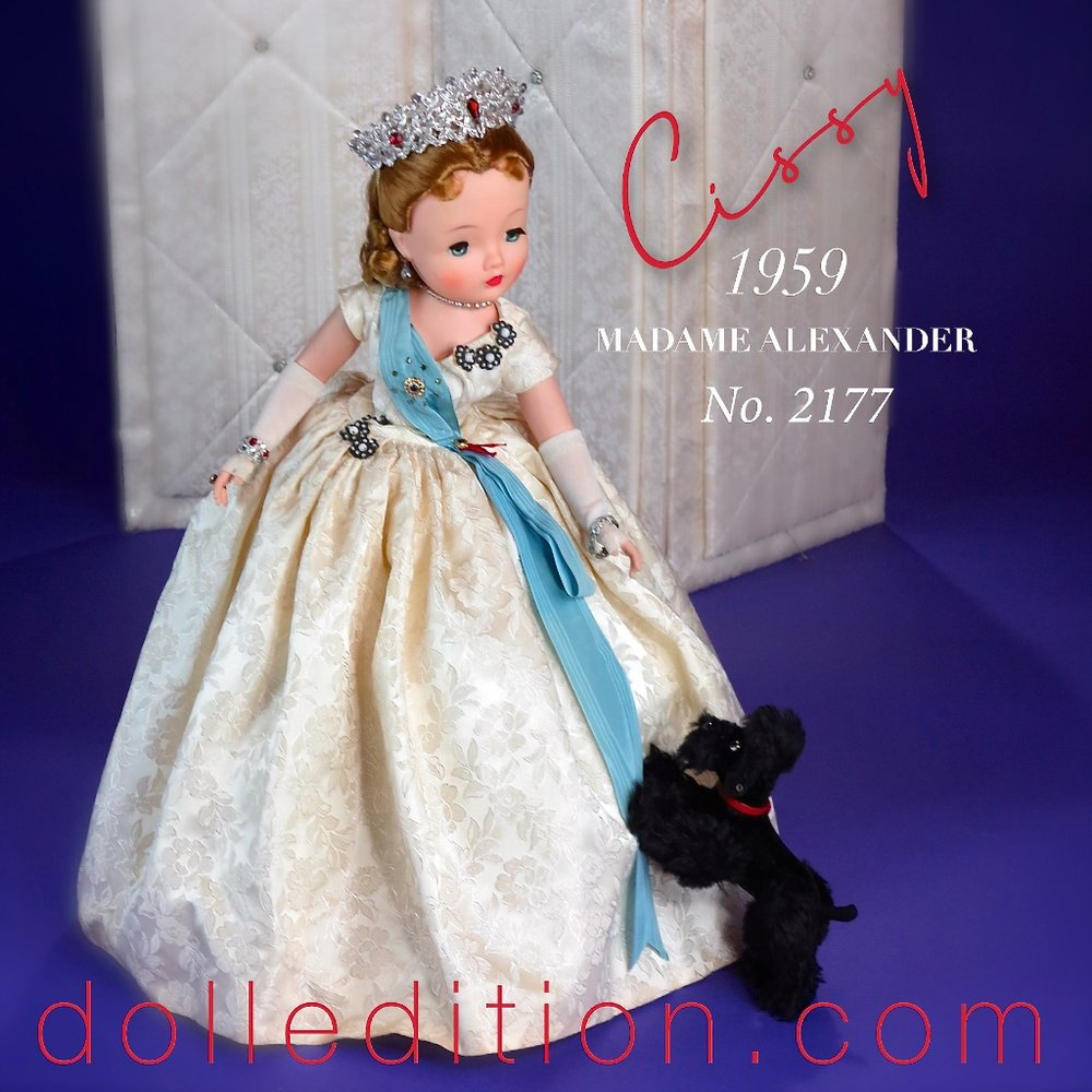 The 1959 Cissy Queen No. 2177 - not shown in the Madame Alexander company doll catalog but does appear in the 1959 FAO Schwarz catalog as No. 1628. An interesting detail comparison - FAO Schwarz catalog lists Cissy for this year as 20 inches and the Madame Alexander catalog lists Cissy as 21 inches.