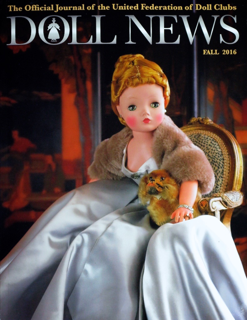 DOLL NEWS - Fall 2016 for UFDC... My cover featuring this 1956 Cissy No. 2041 in a silver blue slipper satin gown.