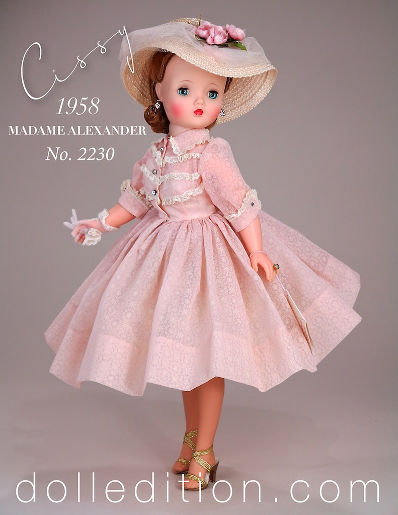1958 Cissy No. 2230 in a sheer shirtwaist dress accented with rows.Val lace. For whatever reason, in 1958 Cissy was described in the Alexander Company catalog as being a 21 inch doll after being described as a 20 inch doll from 1955-1957, even though Cissy measures the same size.
