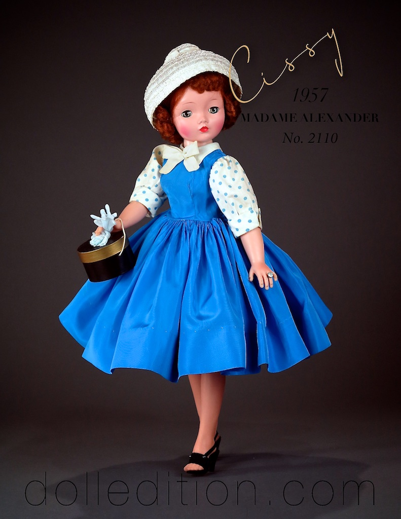 "This is the painted finish example of the same doll. Alexander changed mid year, and started using the infused finish for Cissy that had the skin tone ""infused"" into the plastic rather than painted on in the earlier technique they started with in 1947."