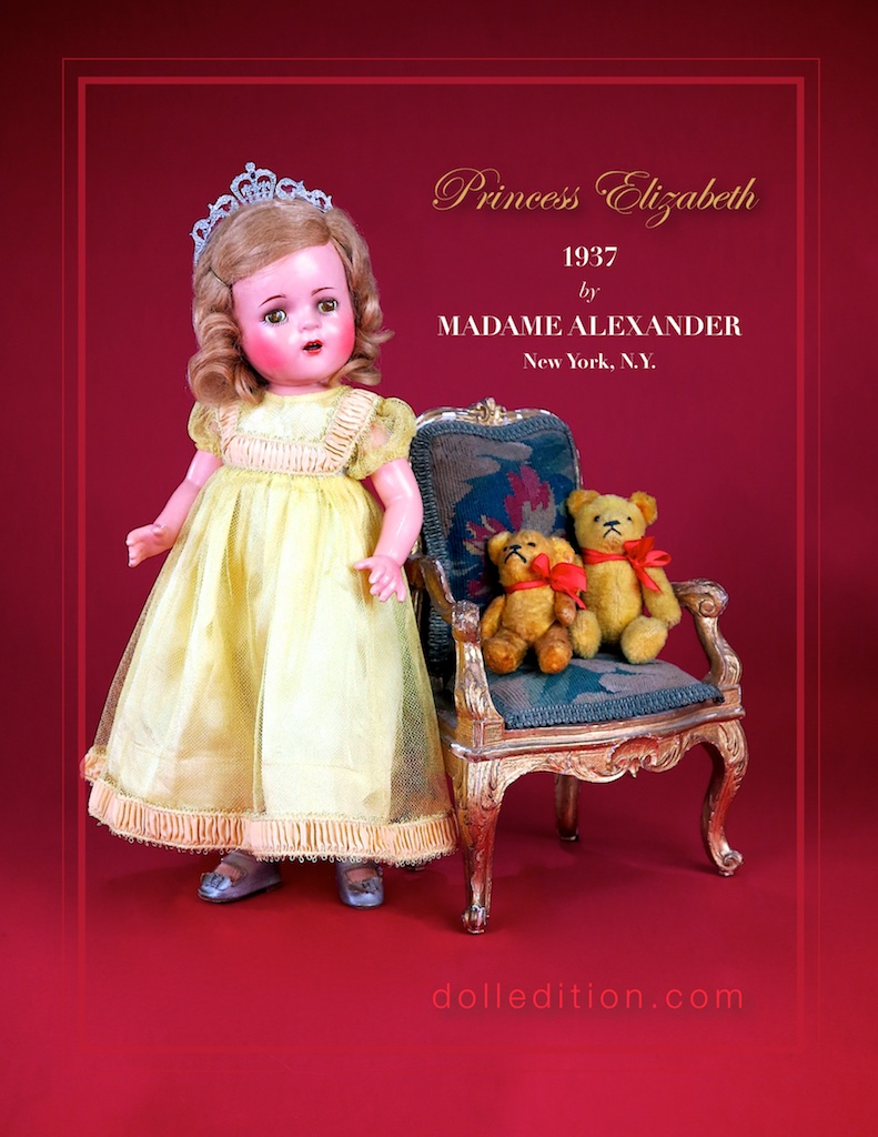 14 inch 1937 Princess Elizabeth in yellow gown, silver slippers and a tiara.