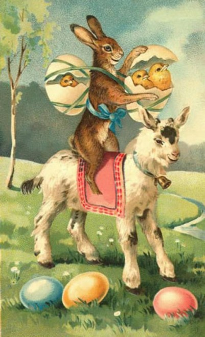 The original German Easter imagery evolved over the years for the American market.