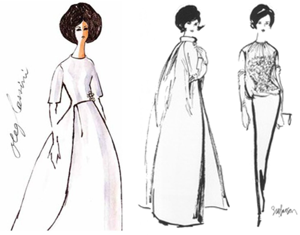Oleg Cassini sketches for the 1961 inaugural gown of Jacqueline Kennedy.