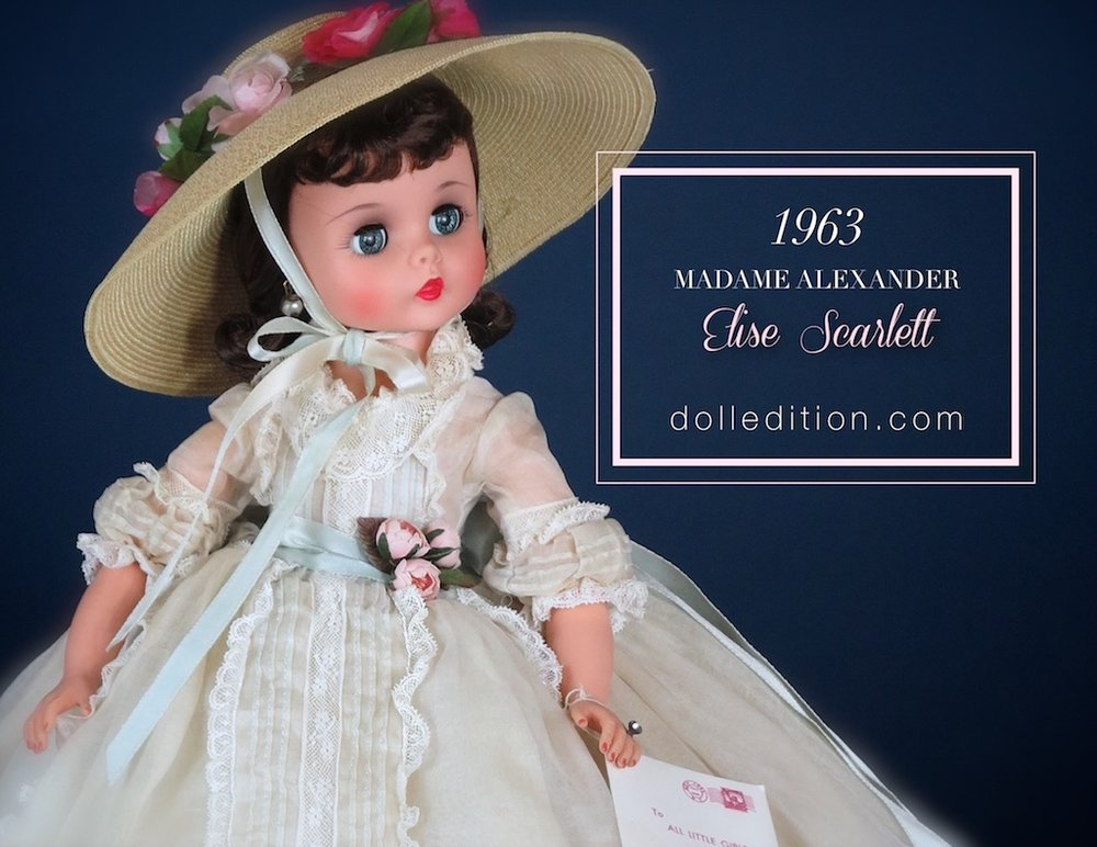 "Dressed as the most famous of Southern Belles, Elise as Scarlett O'Hara wears an organdy gown trimmed with lace and rosebuds accenting her period costume. She wears a picture hat of Italian straw and more roses. Even her period lingerie has the same lace detail. The Alexander Doll Company catalog of 1963 states ""This doll is a collector's item""... in hind site, this would become one of the most desirable Elise's the company made."