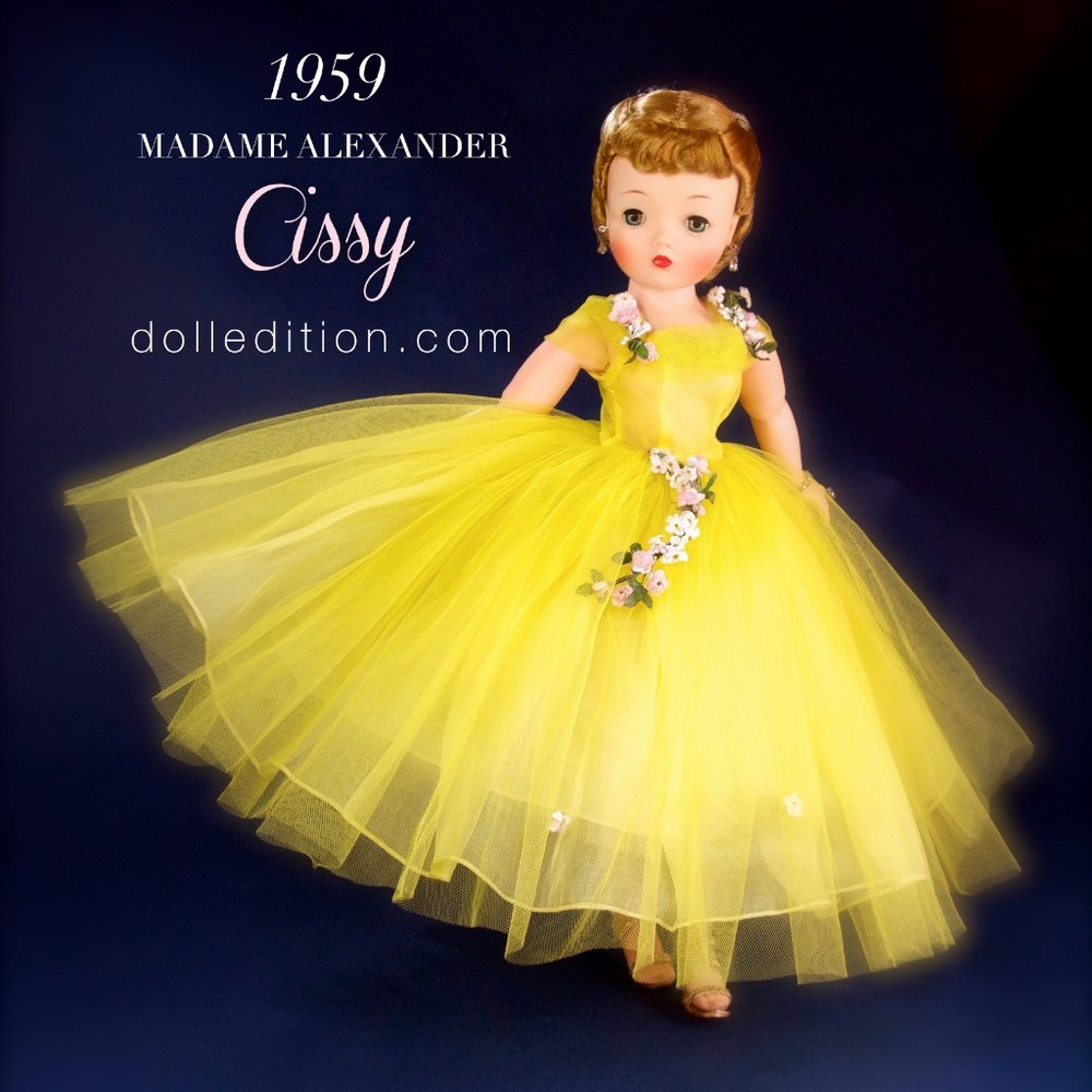 "1959 No. 2260 yellow tulle demo-longueur length gown with garlands of roses by Madame Alexander for ""Cissy."""