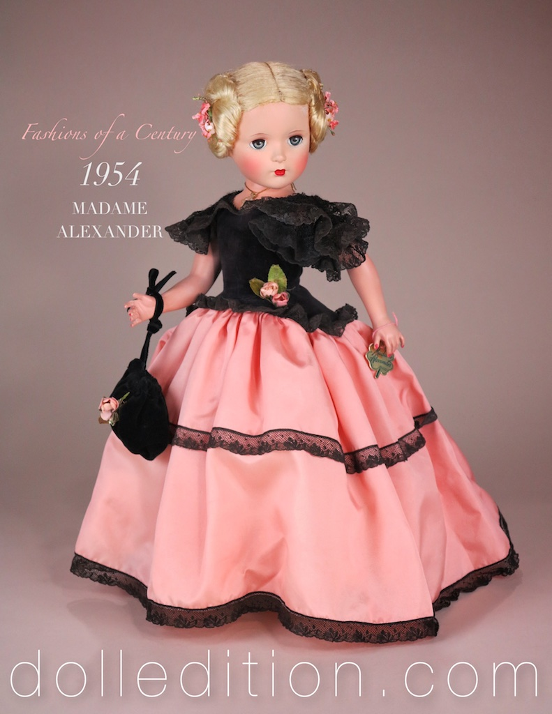 FASHIONS OF A CENTURY - 18 inch Lady, part of a nine doll series from 1954. These are among the rarest of Madame Alexander dolls. In Godey styled costuming, dressed in peach taffeta, black lace and velvet, the doll has a mesmerizing presence. One of her features is her elaborate coiled hairstyle.