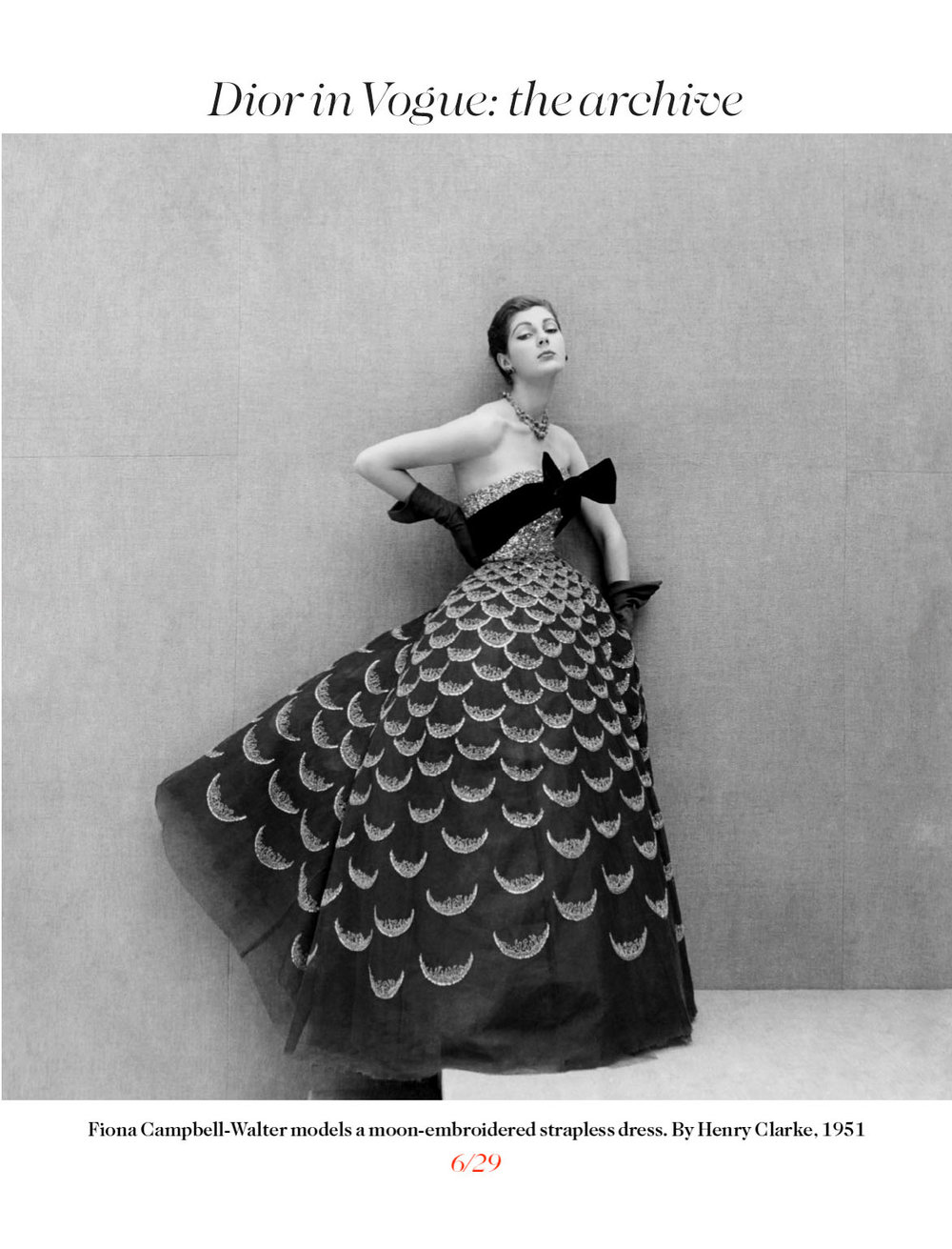 Dior in Vogue 1951 - now an archived couture gown