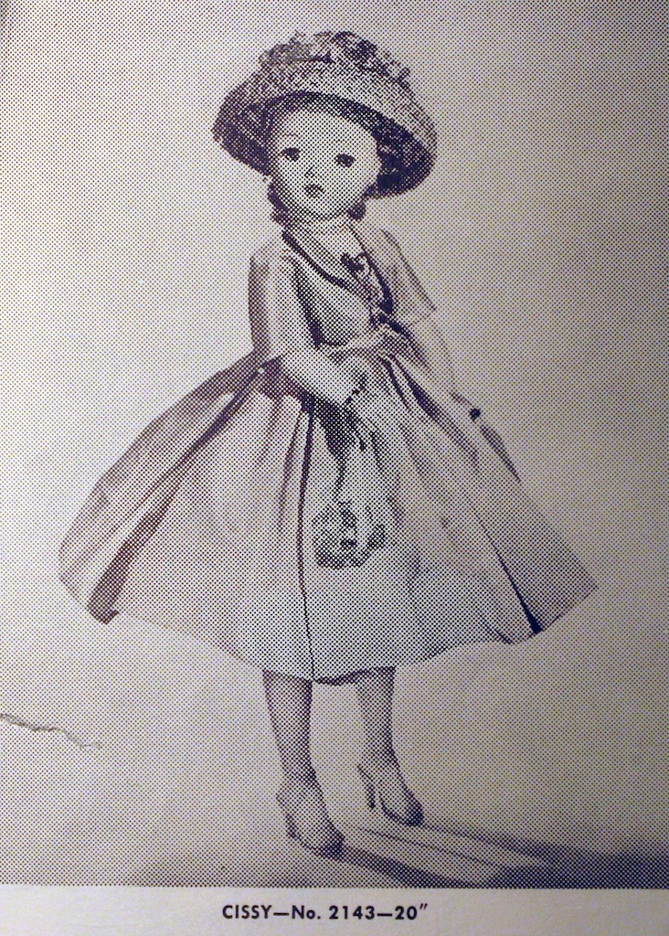 "Cissy No. 2143 - from the 1957 Alexander Doll Company Catalog. In 1958, the company catalog would describe Cissy as a 21"" doll."