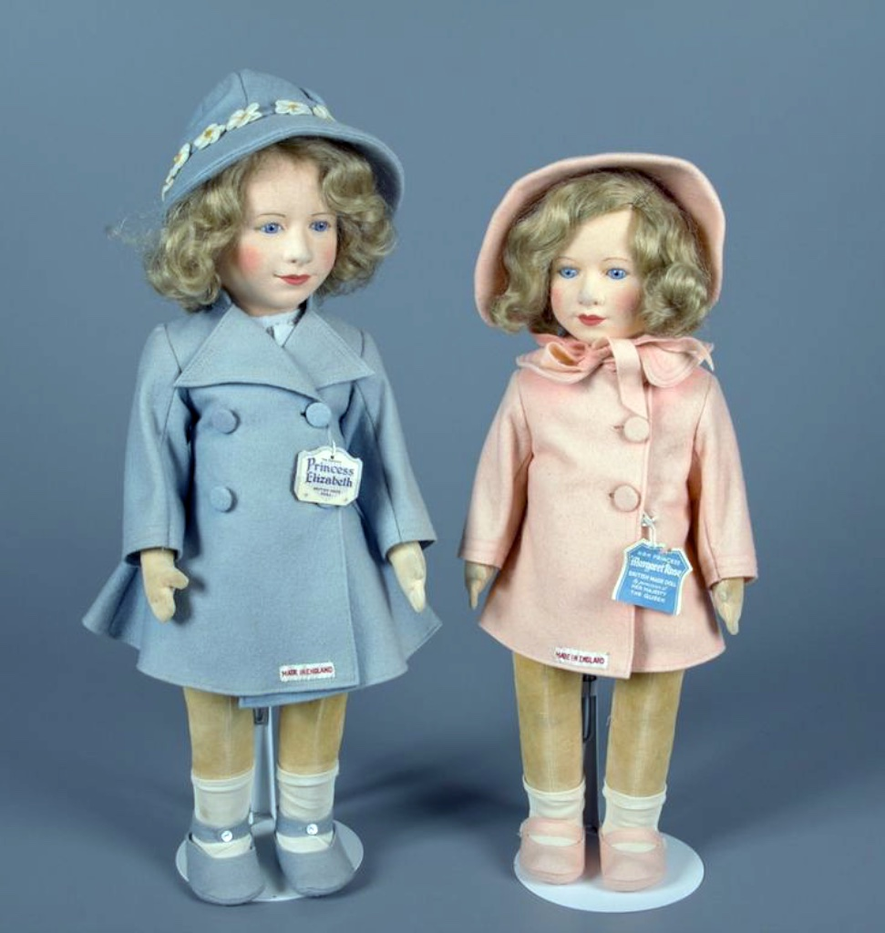 Other manufactures also made dolls of Princess Margaret and Princess Elizabeth. Chad Valley, a British company, made these 1938 felt dolls.