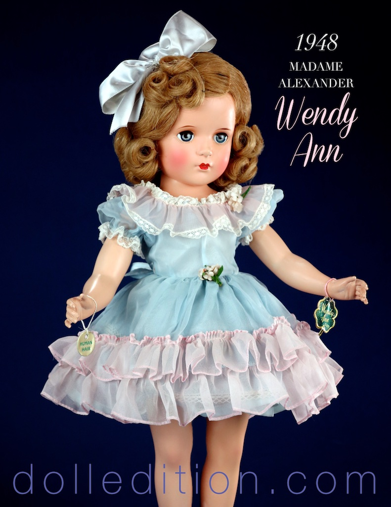 "Dolls available in different sizes were a big feature of the time. This Wendy Ann came in 15,"" 18,"" and 21"" sizes."