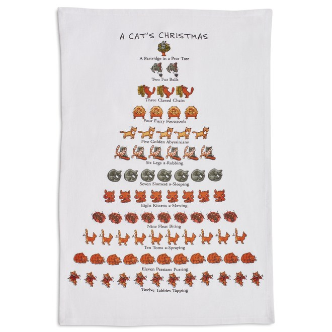 The Cat Lover's 12 Days of Christmas flour sack towel