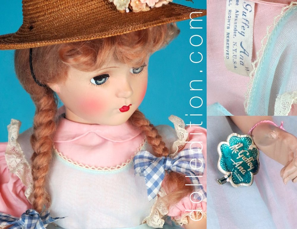 A few of the details of this charming doll are her McGuffey Ana hang tag, tagged dress, lace and pigtail ties.