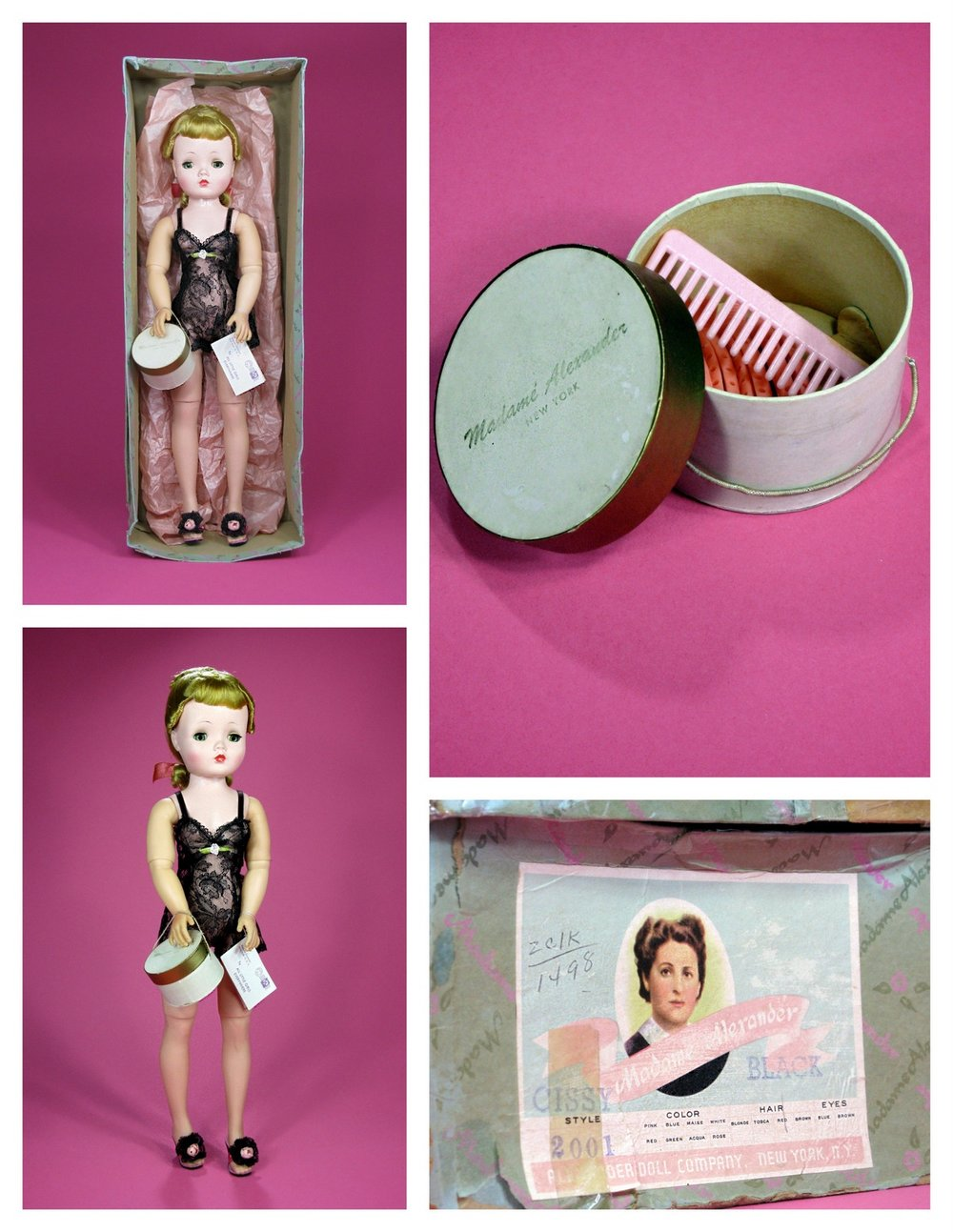 The Basic Cissy came dressed in a cream or black chemise, wearing coordinated high heel mules, hose, carrying a hat box with hair supplies and a hang tag on the wrist. Although the 1958 Basic Cissy did wear pearl earrings, more typically these dolls did not. The dolls box has a check-box for both blue eyes and brown. This particular Basic Cissy is from 1956.
