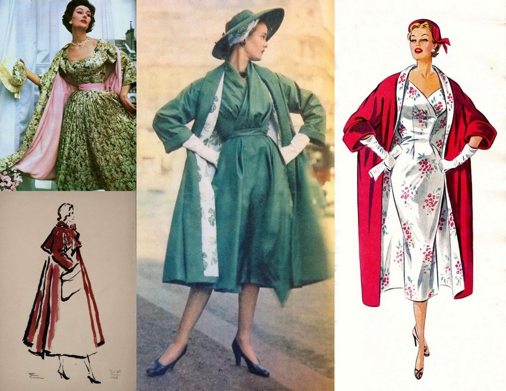 Extravagant coats of the era with matching and/or coordinating coat linings.