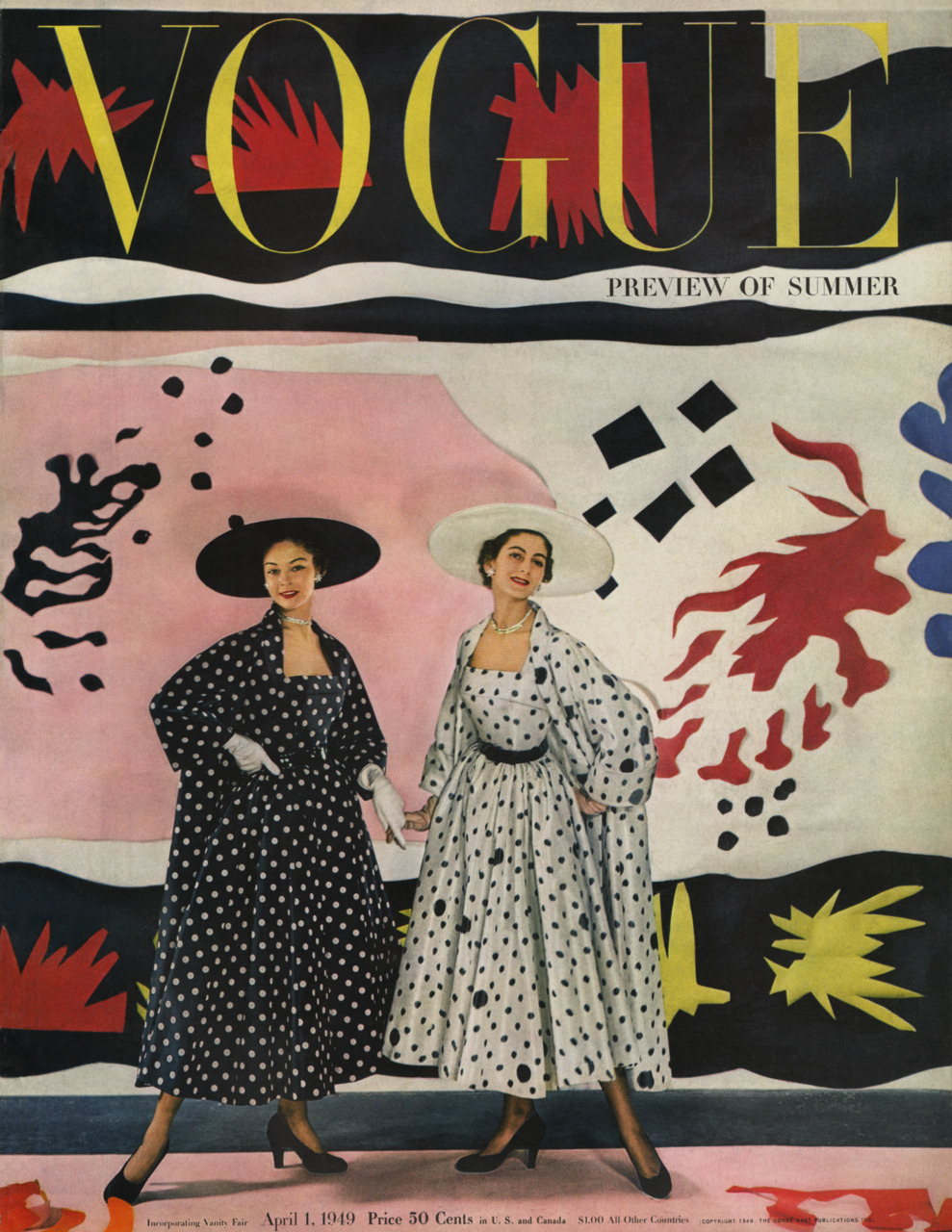 "Vogue Magazine celebrates the ""statement"" coat and dress ensemble with matching coats, lining and dresses."