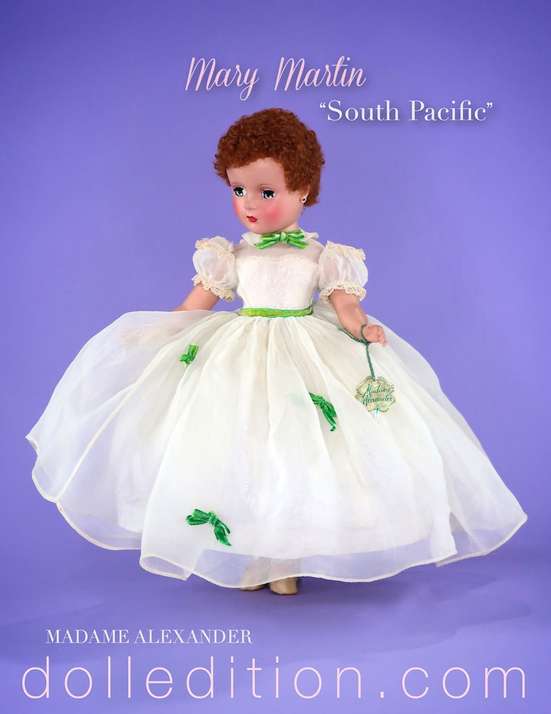 "1950 Alexander ""Mary Martin"" doll, 14"" doll  in a white formal. ""Mary Martin"" was also produced in a sailor suit and a chambray outfit."