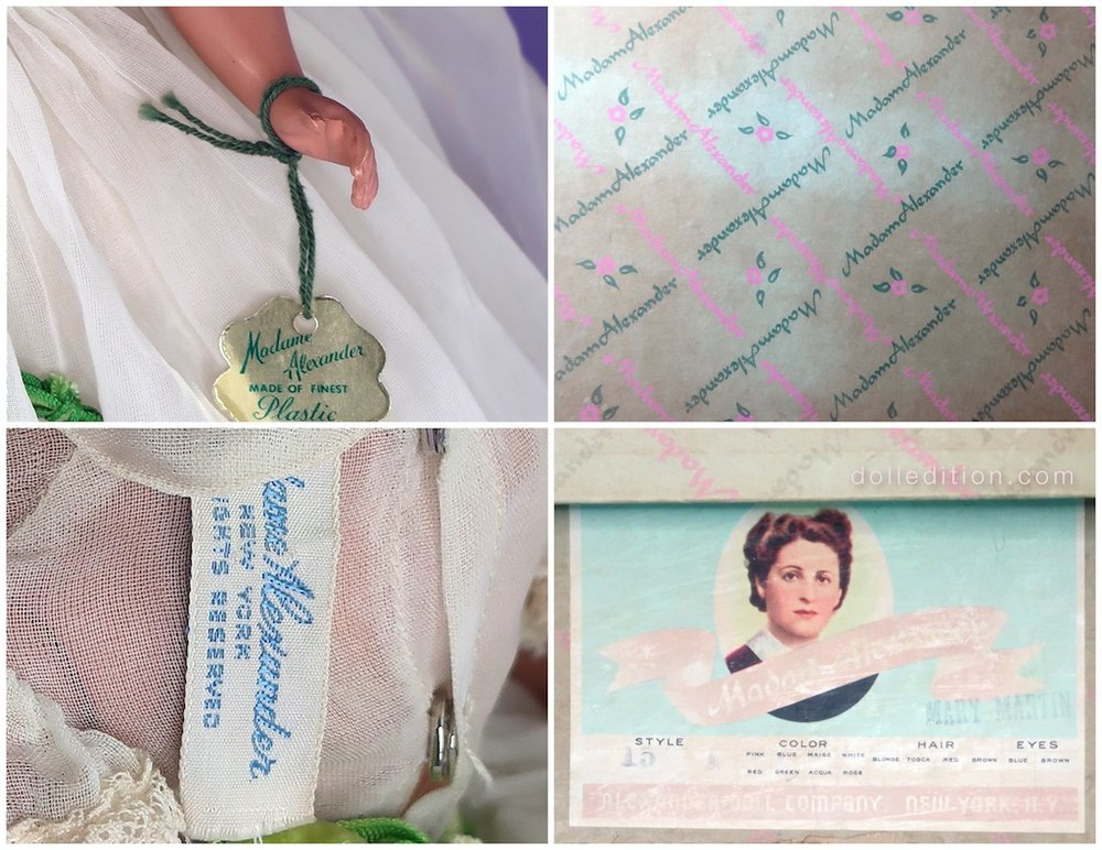 "Top Left is the green string used this 1950, ""Mary Matin."" Top Right is the ""Madam Alexander"" box with the dropped ""e."" Bottom Left is the dolls ""Madame Alexander"" tagged gown. Bottom Right shows the company style number ""15"" for this ""Mary Martin."""