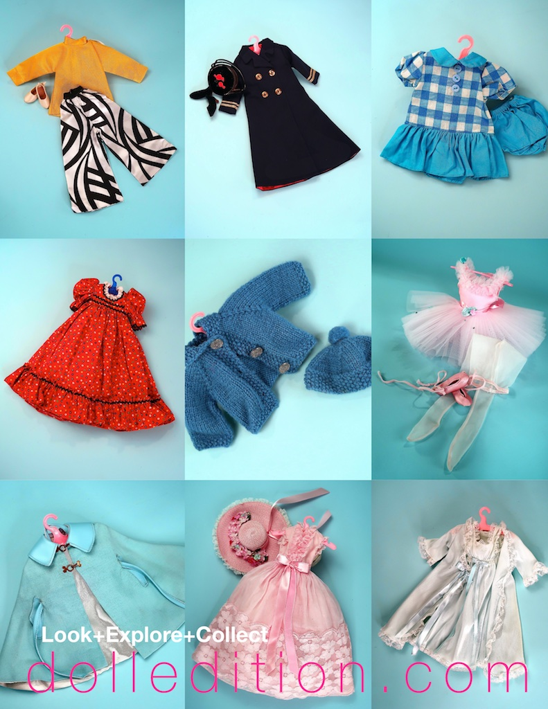 "Everything in this trunk set is tagged  ""Madame Alexander""  except for the blue sweater and hat set and the blue check dress and bloomers. However, the blue and white check set is shown in the FAO catalog photo."