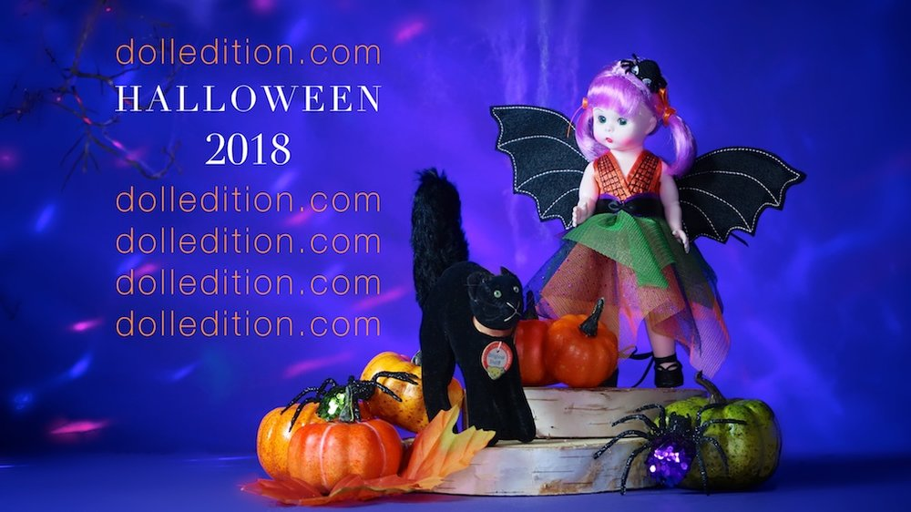 "Halloween 2018 - dolledition.com / 2017 ""Boo-tifully Batty"" Halloween doll by the Alexander Doll Company, ""Tom Cat"" by Steiff c. 1960"