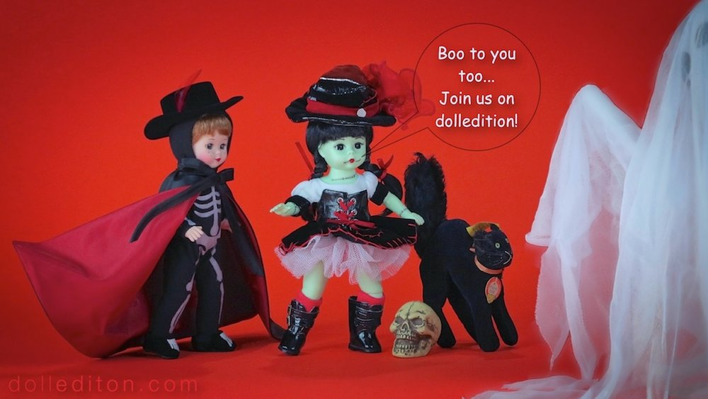 "Halloween 2014 - dolledition.com / 2012 ""Bonesy"" and 2011 ""Franken Wendy"" by the Alexander Doll Company,  "" Tom Cat"" by Steiff c. 1960"