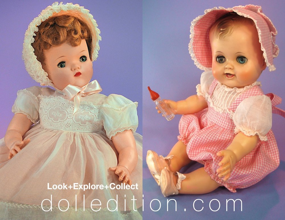 "Another 1957 introduction to the Alexander production line was Dumplin' Baby. One of the dolls innovative features was that a 23 ½"" doll was light enough for even a young child to carry around.The final doll illustrated in the Forbes & Wallace Christmas 1957 catalog page is Kathy Cry-Dolly (spelled ""Cathy"" by Forbes & Wallace) which could drink and wet and was a very early product made entirely of vinyl."