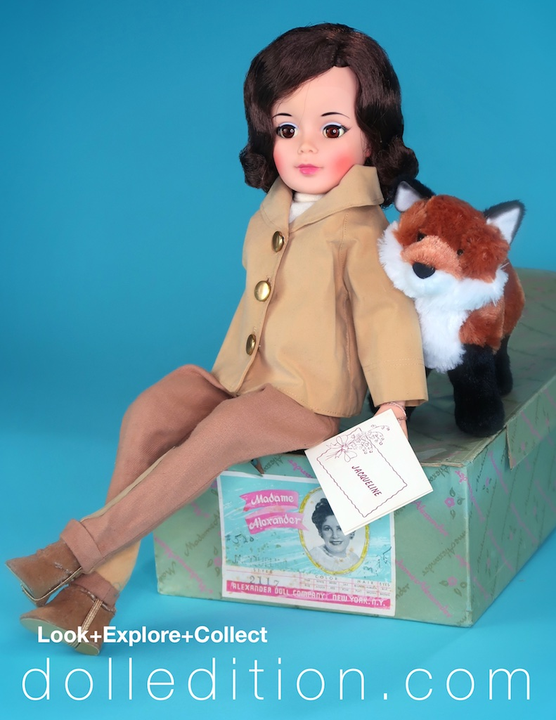 "1962 ""Jacqueline"" Equestrian No. 2117 with her box and hang tag. ""Jaqueline"" is wearing jodhpurs and jodhpur boots with a suede jacket."