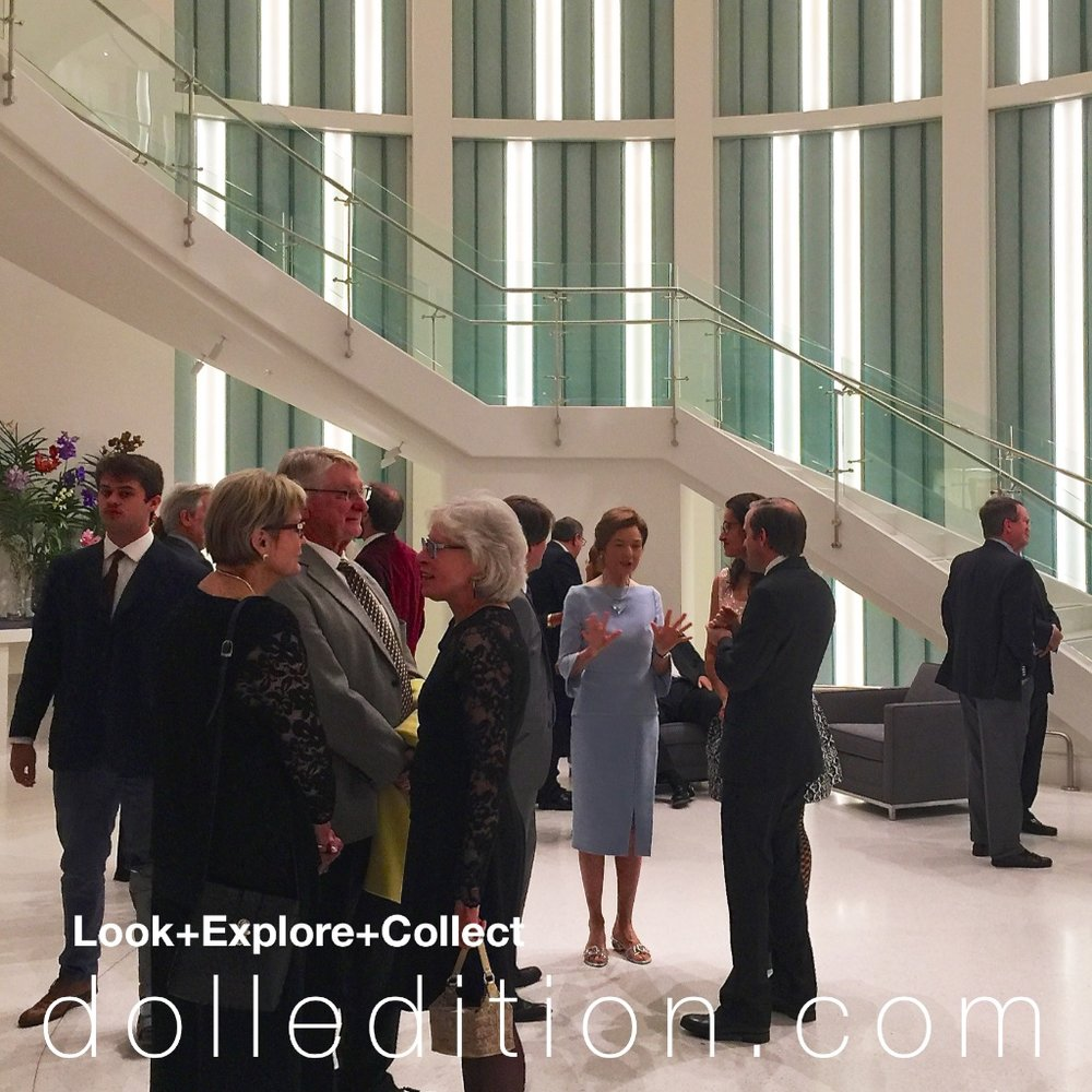 CENTER: Carolyn Barry, art, antique doll collector and benefactor - Barry Art Museum opening event.