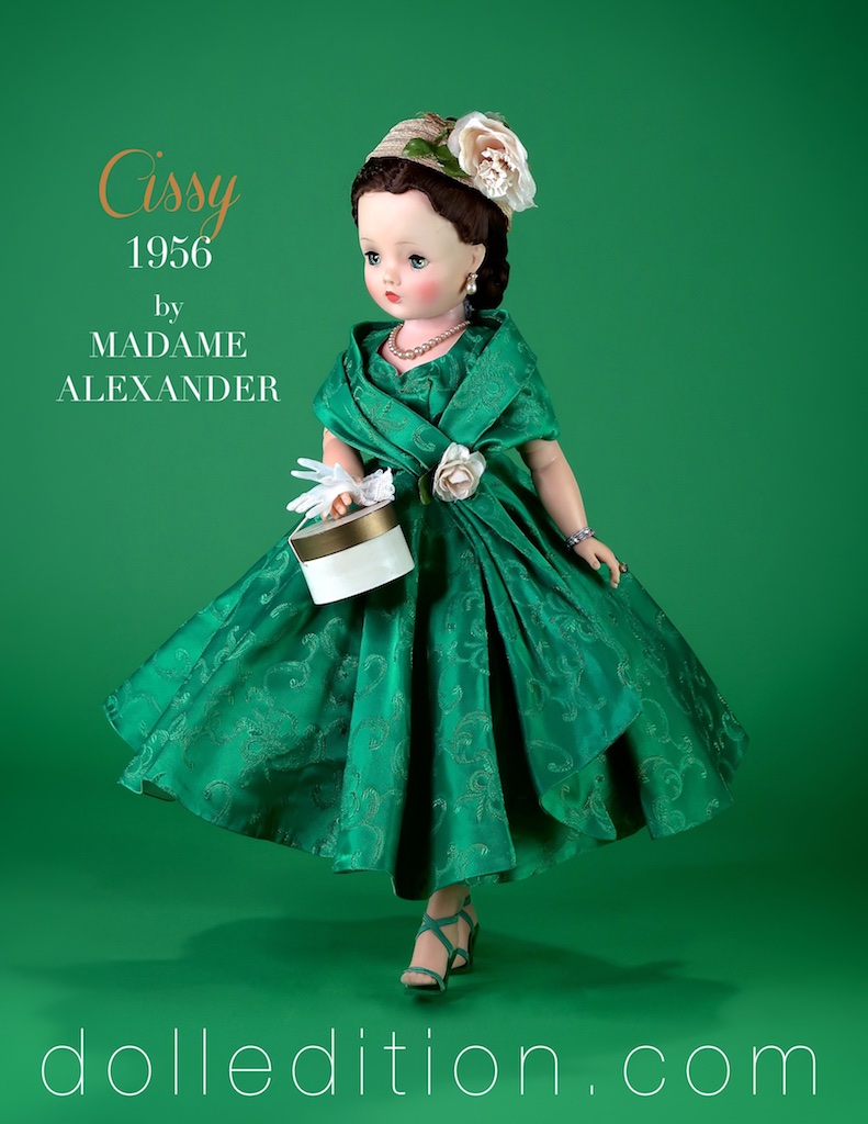 Cissy Green 1956 Side Drape Green Brocade (white lining) by Madame Alexander