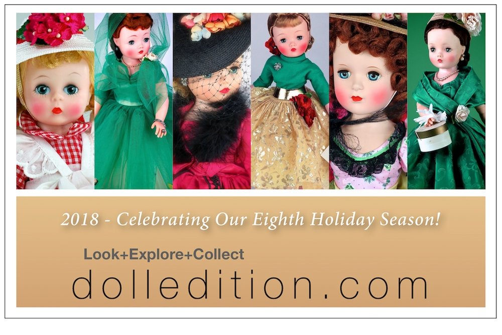 Celebrating our eighth Holiday Season - dolledition.com shares some of the dolls of past events in holiday colors.