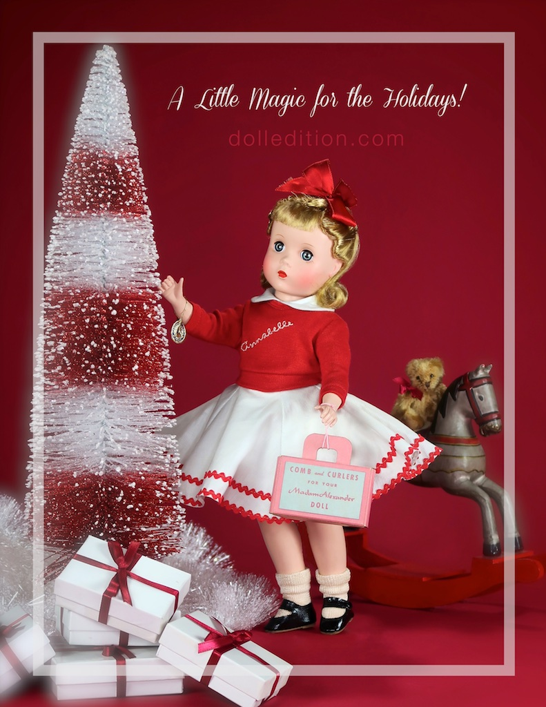 White cotton pique dress with red rick-rack trim, under a knit red sweater embroidered Annabelle in white lettering, white cotton petticoat and panties, socks, black leatherette side-snap shoes. with her original box The costume is tagged Kate Smith's Annabelle, Madame Alexander.