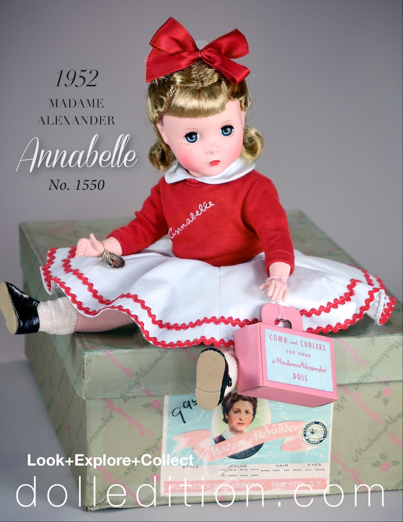 "The box has the model number and ""Annabelle"" stamped on the factory label along with a gold foil ""Fashion Academy Award"" sticker. The price of $9.95 is marked on the box. Annabelle has her ""Beauty Kit"" of curlers, comb and beauty care booklet."