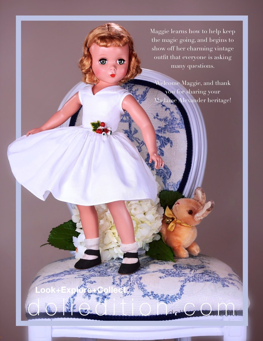 White Pique cotton summer dress and floral accents with matching pique underpants. Tagged: Madame Alexander