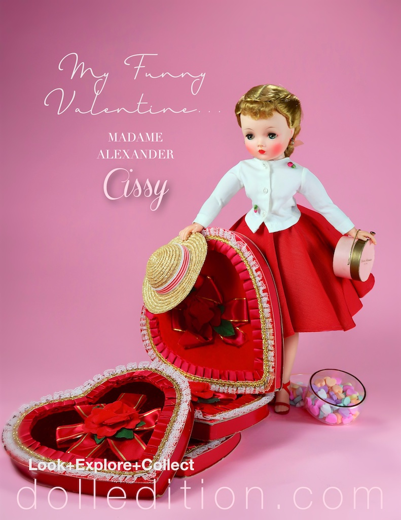 Stepping out, Cissy wears a red faille circle skirt with a white top with rose accents… vintage candy boxes and memories galore.