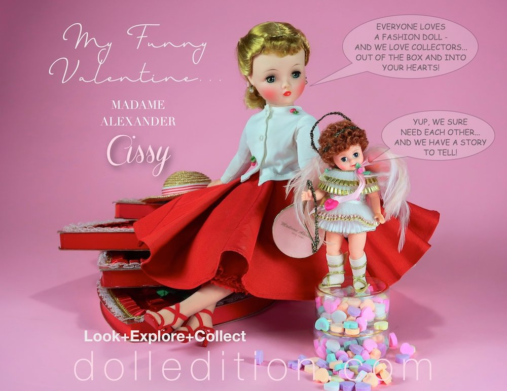 "Cissy is visited by Madame Alexander's 1998 ""Cupid Messenger of Love."""