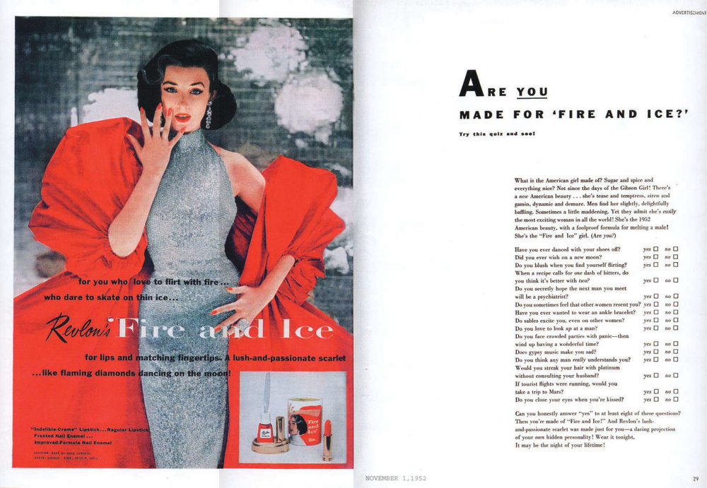 "Fashion and passion… Revlon 1952, it was all about ""Red"" - the color of love."