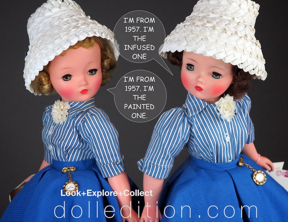 "1957 was also the transition year for production at the Alexander Doll Company to switch from painted finish dolls to the infused process where the skin tones are in the plastic and not painted on over plastic. The doll on the left is a painted finish example of the No. 2114 'Cissy"" and the doll on the right is an infused doll that replaced the painted finish mid-1957."