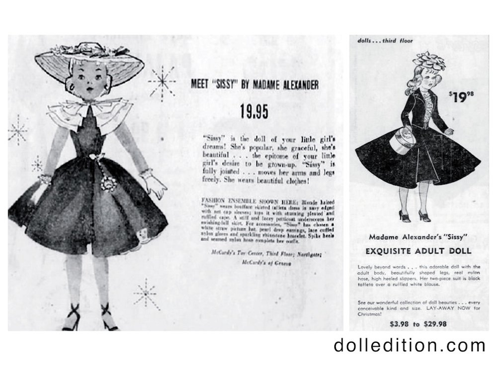 """""""Cissy,"""" a doll that was revolutionary in her concept at the time, was clearly a trendy doll by the sheer quantity of ads she received. There were some examples when """"Cissy"""" got spelled """"Sissy."""" LEFT: Democrat and Chronicle · Thu, Dec 5, 1957 RIGHT: The Shreveport Times · Sun, Nov 11, 1956"""