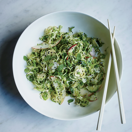 Brussels Sprout Salad with Toasted Sesame Dressing