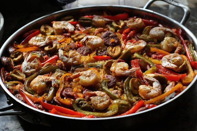 Shrimp Paella with Chorizo