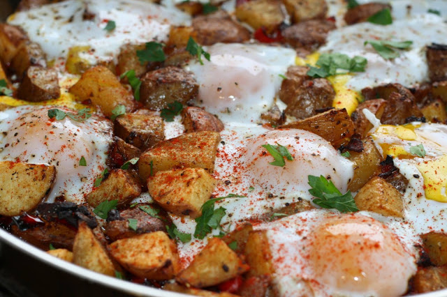 Caramelized Onion Potato Hash with Baked Eggs and Thyme Oil
