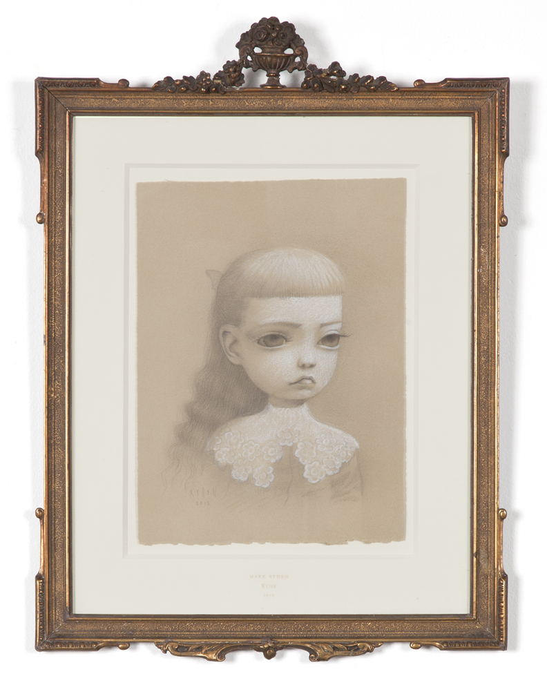 "Mark Ryden, ""Elise,"" 2013, graphite on chalk paper, 19 x 14 inches"