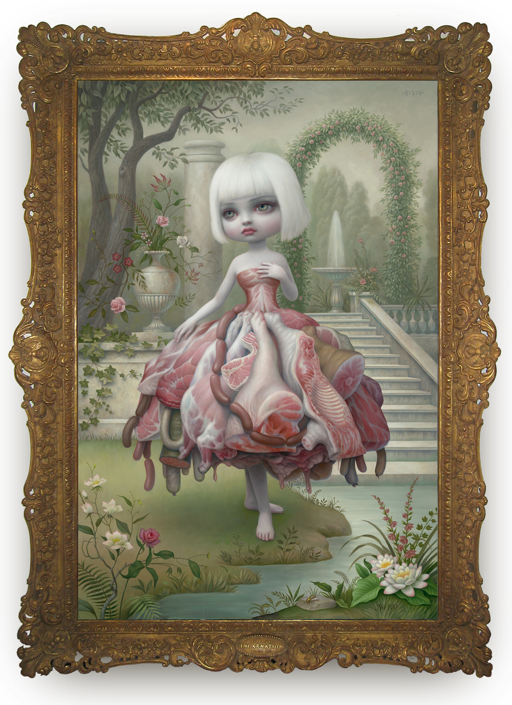 "Mark Ryden, ""Incarnation,"" 2009, oil on panel with artist designed frame, 86 1/2 x 63 1/2 inches"
