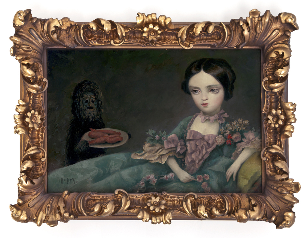 Mark Ryden,  Medium Yams,  2012, oil on panel with vintage frame, 12 x 16 inches