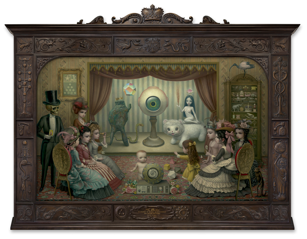 Mark Ryden,  The Parlor (Allegory of Magic, Quintessence and Divine Mystery),  2012, oil on canvas with artist designed frame, 98 x 120 inches