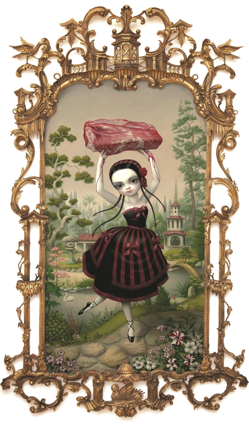 Mark Ryden,  Meat Dancer,  2011, oil on canvas with vintage frame, 75 x 50 inches