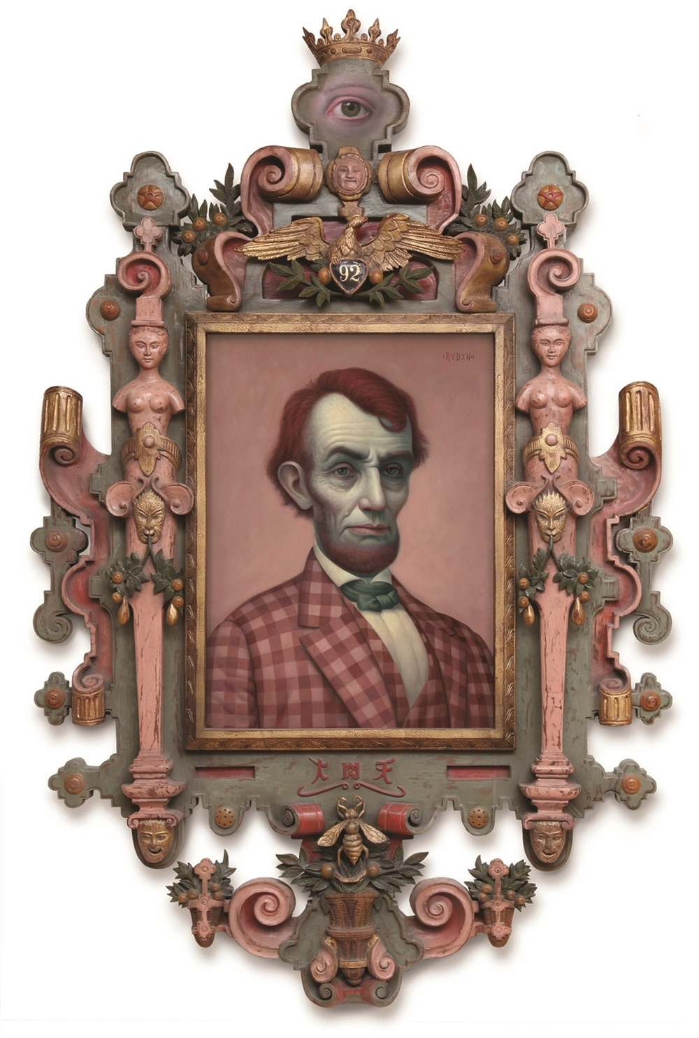 Mark Ryden,  Pink Lincoln,  2010, oil on canvas with artist designed frame, 55 x 34 inches