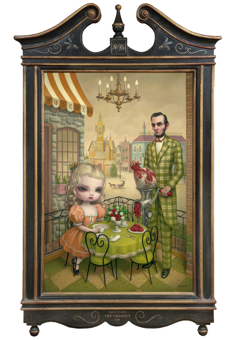 "Mark Ryden, ""The Grinder,"" 2010, oil on canvas with artist designed frame, 56 x 32 inches"